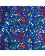 Bielastischer Jersey Stoff in königsblau mit buntem Ameisenmuster für Bekleidung und Unterwäsche.