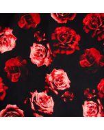 Schöner, bielastischer Jersey Stoff, mit grossen Rosenmotiven - die Musterung ist sehr klein, der Stoff ist perfekt für auffällige Damenbekleidung, Unterwäsche.