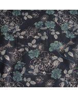 Jersey Stoff in dunkelblau mit Blumenmotiven in beige und olivgrün für Damenbekleidung und Unterwäsche.