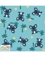 Jersey Stoff mit Krokodil, Elefant, Löwe, Giraffe und Känguru-Motiven für Baby- und Kinderkleider, Bodies, Unterwäsche.