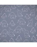 Jersey Stoff mit Elefant-Motiven in hellgrau und weiss für Baby- und Kinderklamotten - der Stoff ist bielastisch, aus Baumwolle.