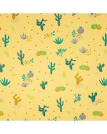 Jersey Stoff in sonnengelb mit feinen Kaktusmotiven in ocker und grün. Der Stoff ist bielastisch, Maschenware aus Baumwolle. Perfekt für T-Shirts, Tops, Leggings.