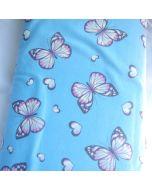 Jersey Stoff mit buntem Schmetterling-Muster in pink, gelb, grün, orange und blau - für Bekleidung und Unterwäsche.