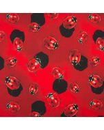 Roter Jersey Stoff mit Marienkäfer-Muster