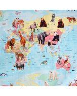 Jersey Stoff Karte - Atlas der Tiere mit Kartenmotiv und Tierbildern.