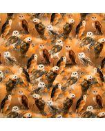 Bielastischer Jersey Stoff in terracotta, braun und orange mit Schleiereule-Motiven.