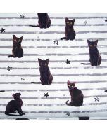 Weisser, weicher Jersey Stoff aus Baumwolle mit dunklen Katzenmotiven für Damen- und Kinderklamotten.