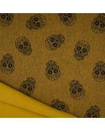 Melierter Softshell Stoff mit Totenkopf-Motiv in ocker-melange