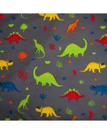 Softshell Stoff für Kinder mit bunten Dinosaurier-Motiven - perfekt für Softshell-Jacken, Outdoor-Decken, Babynestli, Taschen.