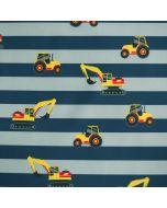 Gestreifter Softshell Stoff mit gelben Traktor und Bagger Motiven - der Stoff ist 150cm breit, winddicht, wasserabweisend