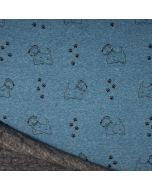 Wintersweat Stoff 'Terrier' mit Hund-Muster