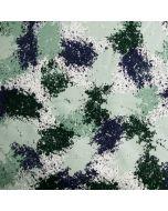 Nicht angerauter French Terry Stoff in mint mit spezieller, marmorartiger Musterung in dunkelgrün, blau und weiss für Pullis, Leggings, Tunika