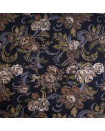 Viskose - Modal Jersey Stoff in schwarz mit Blumenmotiven in Jaquard-Optik: die Blumen sind braun, grau, olivgrün und offwhite. - Der Stoff ist bielastisch für sommerliche Tops, T-Shirts oder Kleider.