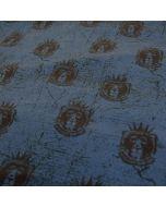 Sommersweat - French Terry Stoff in dunkelblau mit schwarzen Löwe-Motiven. Der Stoff ist ideal für Männerbekleidung - für Hoodies, Pullis, Trainingshosen; usw.