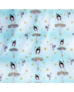 Bielastischer Jersey Stoff 'Schwanensee' in Aquamarine mit feinen Ballerina- und Schwan-Motiven - Stoffzusammensetzung: 95% Baumwolle 5% Elastan