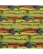 Bielastischer Jersey Stoff in Grün- und Brauntönen mit Traktormuster für lässige Kinderbekleidung.