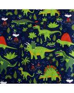 Weicher, bielastischer Jersey Stoff in dunkelblau mit Dinosauriermuster für Kinderbekleidung und Unterwäsche.