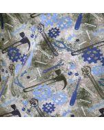 Bielastischer Sommersweat - French Terry Stoff mit Werkzeugmuster