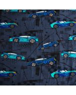 Jersey Stoff in dunkelblau-melange mit blauen und türkisfarbigen Rennauto-Muster