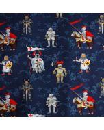 Jersey Stoff in dunkelblau mit Rittermuster für kleine Ritterfans.