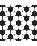 Feiner Baumwollstoff in schwarz-weiss mit sechseckigem Wabenmuster das an Fussball erinnert.