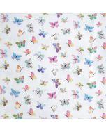 Mittelschwerer Baumwoll Twill - Köper Stoff mit buntem Schmetterlingsmuster für Dekoartikel.