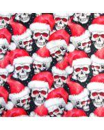 Lässig schräger Baumwollstoff für den Nikolaustag - Samichlaustag mit Nikolaus-Totenkopf Muster für Deko, evtl. auch für Bekleidung.