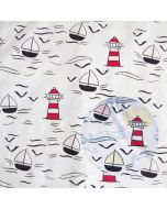 Magic Farbwechsel Jersey Stoff mit schwarzen Streifen und bunter Farbkleks-Musterung