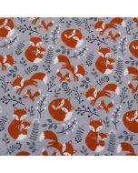Weicher, bielastischer, sehr warmer Wintersweat Stoff in grau-blaumelange mit süssen Baby- und Mamifuchs-Motiven in in rot-orange.