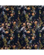 Dunkelblauer French Terry Stoff mit Blumenmuster für Pullis, Hoodies, warme Leggings