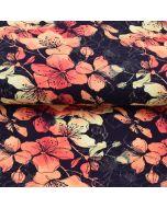 Toller French Terry Stoff in dunkelblau mit Blumenmuster in rot-orange-gelbtönen für Hoodies, Sweatjacken, Leggings