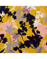 Softshell Stoff in Ocker mit Blumenmuster