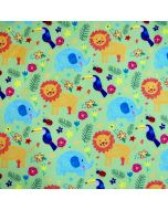 Grüner Softshell Stoff mit bunten Löwe - Elefant und Kakadu Muster für süsse Kinderjacken, Matschhosen oder Outdoor-Decken.