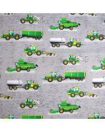Wasserabweisender Softshell Stoff in grau mit grünen Erntemaschine- und Traktor-Muster für Jacken, Regenhosen, Taschen; usw.