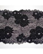 Weiches, elastisches Spitzenband mit beidseitiger Bogenkante in schwarz und 22cm breite für hautenge Bekleidung, BHs, T-Shirts oder Tops.