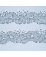 Schmale, gegengleiche Tüllstickereien in silber - 4.5cm breit , 1+1m