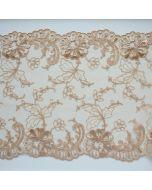 Elastische Tüllstickerei-Spitze in beige - 17.5cm breit