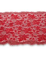 Elastische Spitze in kirschrot mit glänzenden Lurexfäden - 23cm breit