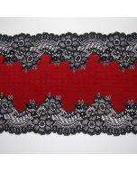 Elastische Spitze - Spitzenband in erdbeerrot mit schwarzen Bogenkanten, die als Bordüre eingesetzt werden können.