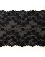 Elastisches Spitzenband in schwarz - 14.5cm breit