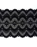 Elastische Spitze - Spitzenband in schwarz - 18.5cm breit