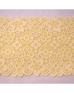 Weiche, hochwertige, elastische Spitze in sonnengelb-hellgelb mit Blumenmuster für Unterwäsche und Bekleidung.