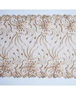 Elastische Tüllstickerei - Spitze in beige - 19.5cm breit