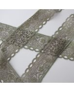 Elastische Spitze - Spitzenband in khaki - 3.8cm breit
