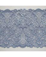 Elastische Spitze in hellblau mit Blumenmuster - die Spitze ist 18.5cm breit, weich, perfekt für Unterwäsche und Bekleidung.