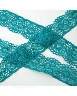 Elastische Spitze - Spitzenband in grüntürkis zum Nähen und Basteln mit einer Bogenkante und einer geraden Kante.