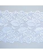 Nicht elastische, Weisse Tüllstickerei-Spitze in weiss - 16cm breit
