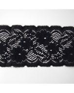 Weiches, elastisches Spitzenband mit 7cm breite in schwarz für hautnahe Bekleidung und Unterwäsche.