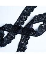 Elastisches Spitzenband in schwarz - 3cm breit