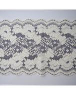 Elastische Spitze - breites elastisches Spitzenband in ecru und grau für Bekleidung, Unterwäsche oder Deko.